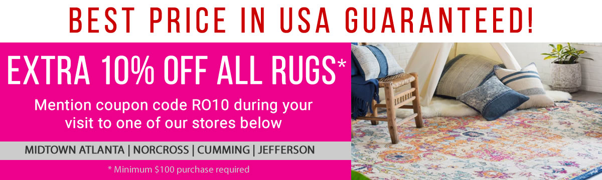 Rug Outlet USA -10 Percent Discount Coupon + Best Price - Atlanta - Norcross - Cumming - Jefferson